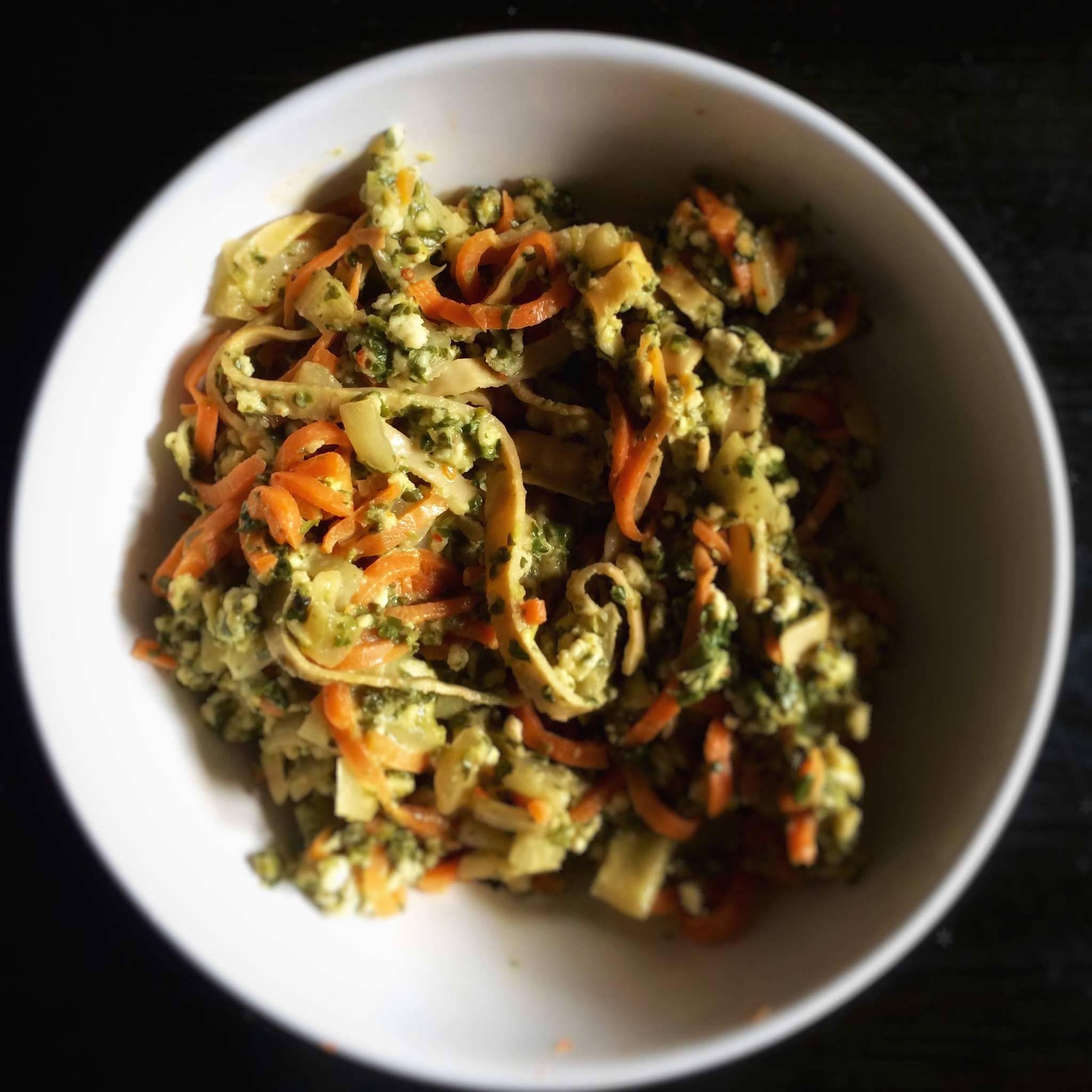 Pasta med skjørost og kremet spinatsaus