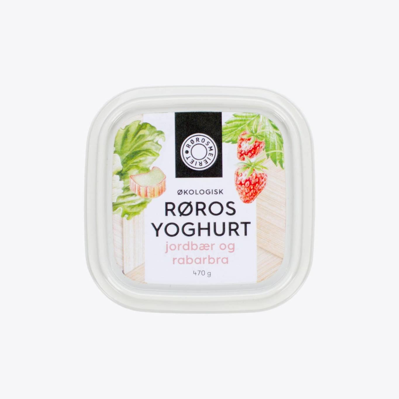 Økologisk Røros Yoghurt Jordbær og Rabarbra